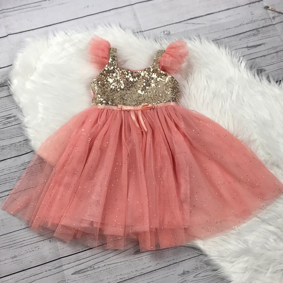 dbd4b0e8 Fancy Girls Dress, Coral with Gold Sequins Size 3T.  M_5a66339346aa7cf827a777bd